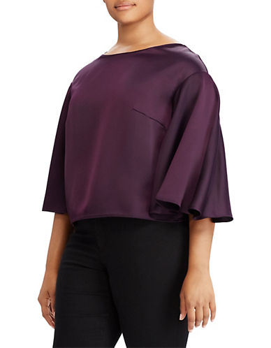 Lauren Ralph Lauren Plus Satin Flutter-Sleeve Top-PURPLE-2X