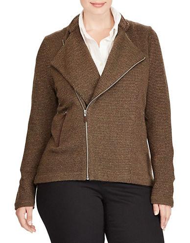 Lauren Ralph Lauren Plus Merino-Blend Moto Jacket-GREEN-1X