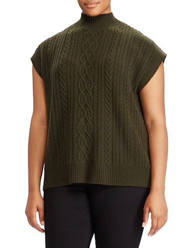 Lauren Ralph Lauren Plus Wool-Blend Cable-Knit Sweater-GREEN-3X