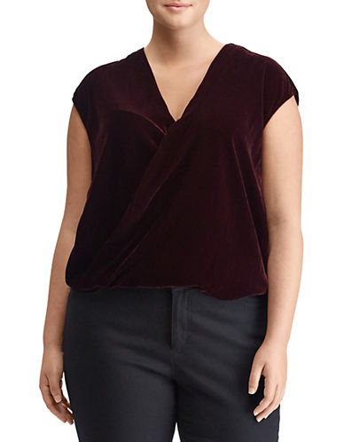 Lauren Ralph Lauren Plus Velvet Surplice Top-RED-1X