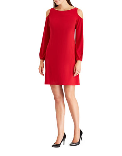 Chaps Cold-Shoulder Jersey Shift Dress-RED-Large