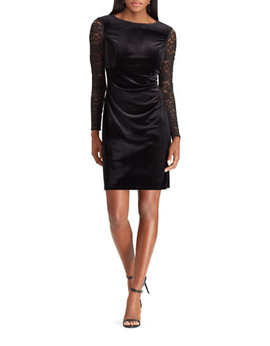 Chaps Lace-Sleeve Velvet Sheath Dress-BLACK-10