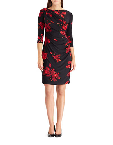 Chaps Floral Jersey Sheath Dress-BLACK-X-Large