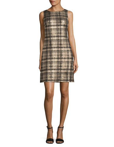 Chaps Metallic Plaid Sheath Dress-GOLD/BLACK-2