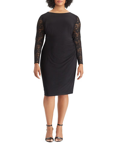 Chaps Lace-Sleeve Sheath Dress-BLACK-18W