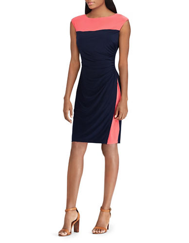 Chaps Two-Tone Jersey Sheath Dress-BLACK-X-Small