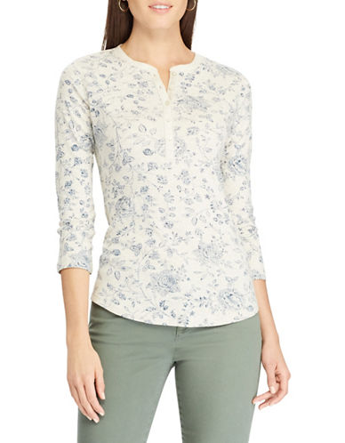 Chaps Floral Henley Shirt-BEIGE-X-Small