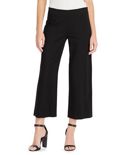 Chaps Cropped Wide-Leg Pants-BLACK-X-Small
