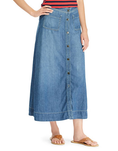 Chaps Denim A-Line Maxi Skirt-BLUE-16