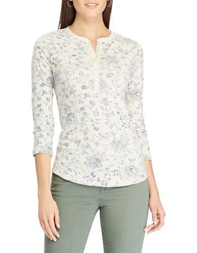 Chaps Petite Floral Henley Shirt-BEIGE-Petite X-Small