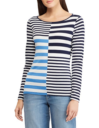 Chaps Petite Contrast Striped Cotton-Blend Top-WHITE-Petite Small
