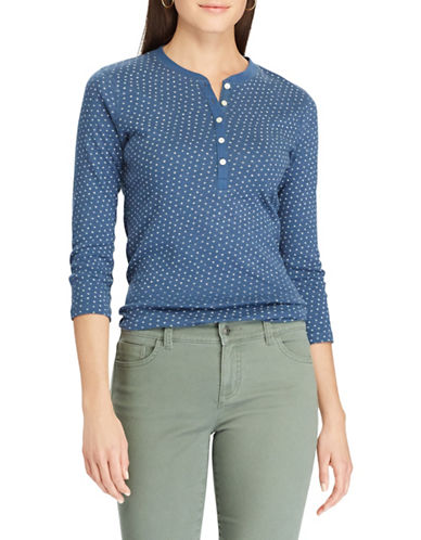 Chaps Petite Star-Print Henley Shirt-BLUE-Petite Small
