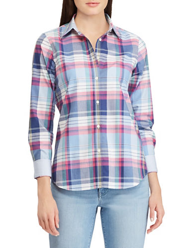Chaps Petite No-Iron Plaid Cotton Shirt-BLUE-Petite Small