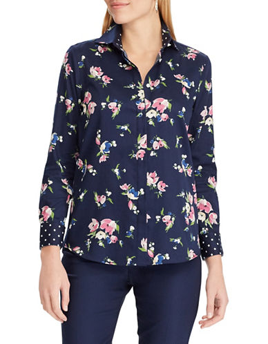 Chaps Petite No-Iron Floral Sateen Shirt-NAVY-Petite Medium