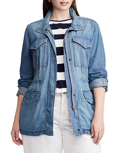 Chaps Plus Denim Field Jacket-BLUE-1X