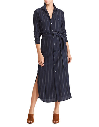 Polo Ralph Lauren Pinstripe Silk Maxidress-NAVY-4