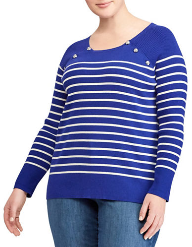 Lauren Ralph Lauren Plus Striped Crew Neck Raglan Sweater-BLUE-2X