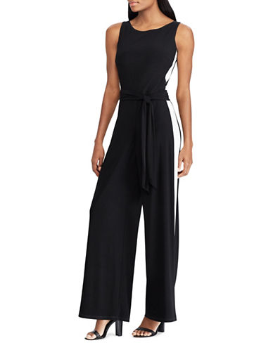 Chaps Striped Jersey Jumpsuit-BLACK-6