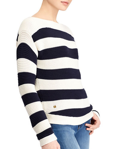 Lauren Ralph Lauren Striped Cotton Boat Neck Sweater-CREAM/NAVY-Large