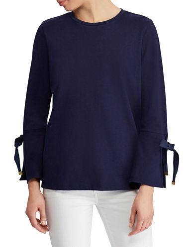 Lauren Ralph Lauren Jersey Bell-Sleeve Top-NAVY-Large