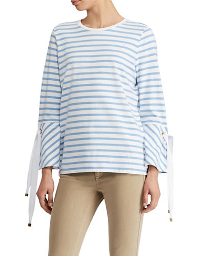 Lauren Ralph Lauren Striped Jersey Bell-Sleeve Top-WHITE/BLUE-X-Large