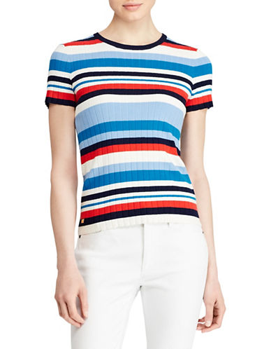 Lauren Ralph Lauren Striped Short-Sleeve Sweater-MULTI-X-Small