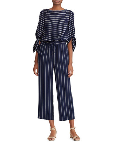 Lauren Ralph Lauren Striped Satin Jumpsuit-NAVY/CREAM-16
