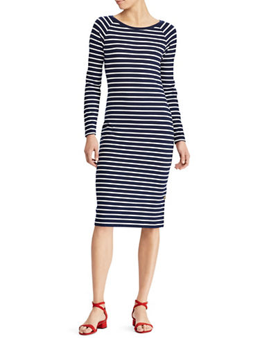 Lauren Ralph Lauren Striped Jersey T-Shirt Dress-NAVY-Large