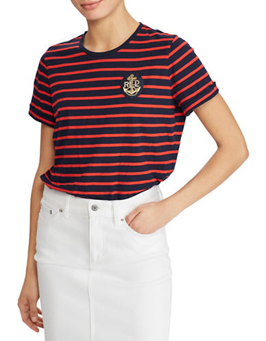 Lauren Ralph Lauren Bullion-Patch Striped Tee-NAVY/RED-X-Small