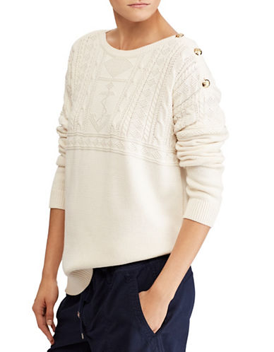 Lauren Ralph Lauren Cotton Boatneck Sweater-CREAM-Medium