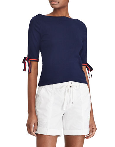 Lauren Ralph Lauren Tie-Sleeve Boat Neck Top-NAVY-X-Large