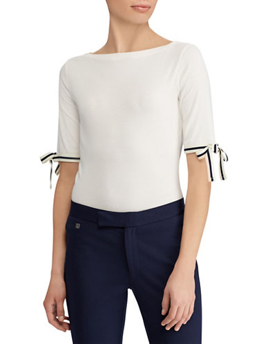 Lauren Ralph Lauren Tie-Sleeve Boat Neck Top-CREAM-X-Large