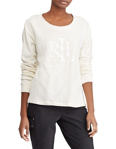 Lauren Ralph Lauren Logo French Terry Sweatshirt-CREAM-Medium