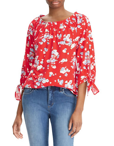 Lauren Ralph Lauren Floral Jersey Off-the-Shoulder Top-RED-Large