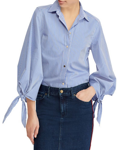 Lauren Ralph Lauren Petite Plaid Tie-Sleeve Shirt-BLUE/WHITE-Petite Large