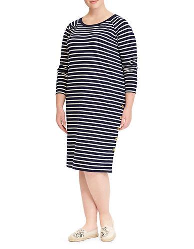 Lauren Ralph Lauren Plus Striped Jersey T-Shirt Dress-NAVY-3X
