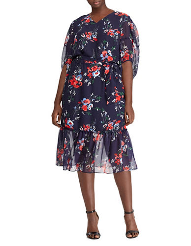 Lauren Ralph Lauren Plus Floral Georgette Midi Dress-MULTI-22W
