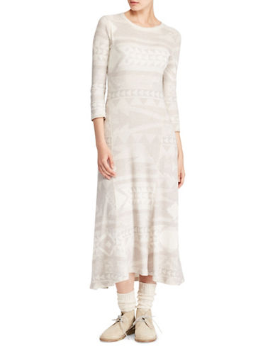 Polo Ralph Lauren Fair Isle Fit-and-Flare Maxi Dress-BEIGE-X-Large