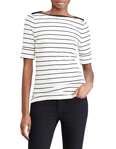 Lauren Ralph Lauren Striped Cotton Boatneck Top-CREAM-Medium