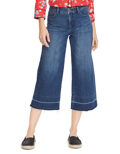 Lauren Ralph Lauren Mid-Rise Flared Crop Jeans-BLUE WASH-2
