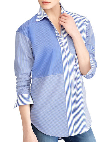 Lauren Ralph Lauren Striped Patchwork Cotton Shirt-BLUE/WHITE-X-Small