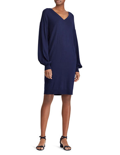 Lauren Ralph Lauren Shirred Cotton-Modal Dress-NAVY-Small