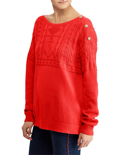Lauren Ralph Lauren Cotton Boatneck Sweater-TOMATO RED-Large