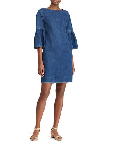Lauren Ralph Lauren Denim Bell-Sleeve Shift Dress-BLUE-6