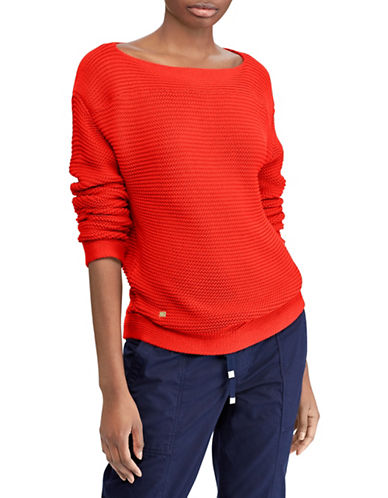 Lauren Ralph Lauren Petite Ribbed Boat Neck Cotton Sweater-TOMATO-Petite Large