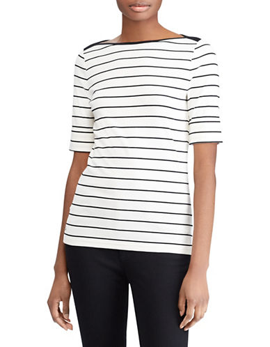 Lauren Ralph Lauren Petite Striped Cotton Boatneck Top-WHITE-Petite Large