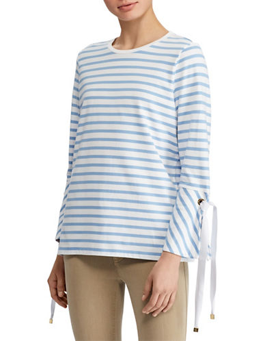 Lauren Ralph Lauren Petite Striped Jersey Bell-Sleeve Top-BLUE/WHITE-Petite X-Small