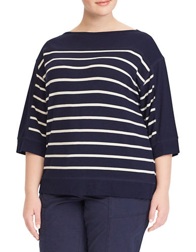 Lauren Ralph Lauren Plus Striped Boat Neck Sweater-BLUE-2X