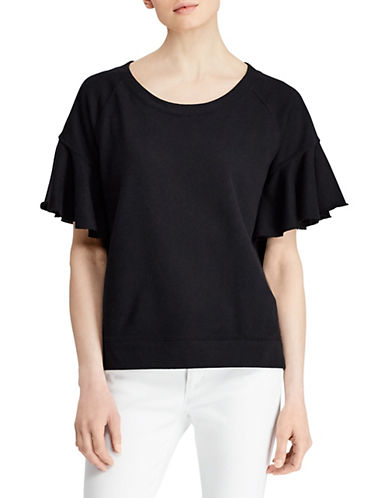 Lauren Ralph Lauren Ruffled-Sleeve French Terry Top-BLACK-X-Large 89956178_BLACK_X-Large
