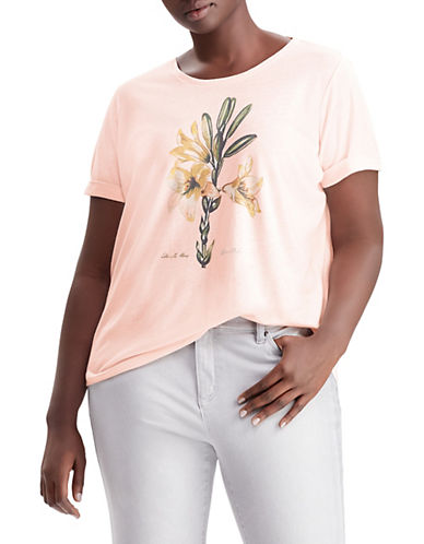 Lauren Ralph Lauren Plus Flower Graphic Linen-Blend Jersey Tee 89857969